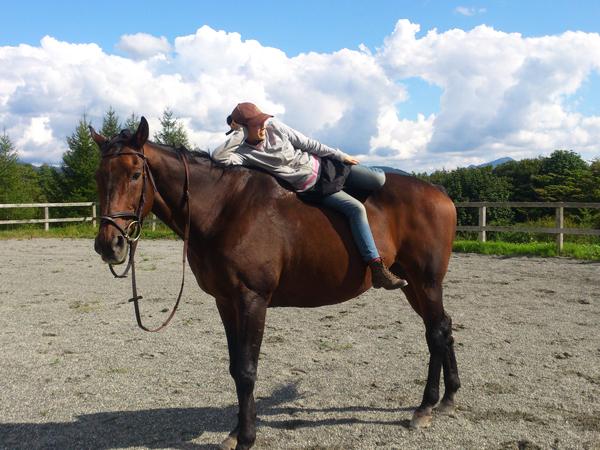 谷口牧場の馬場で馬にのる女性の写真