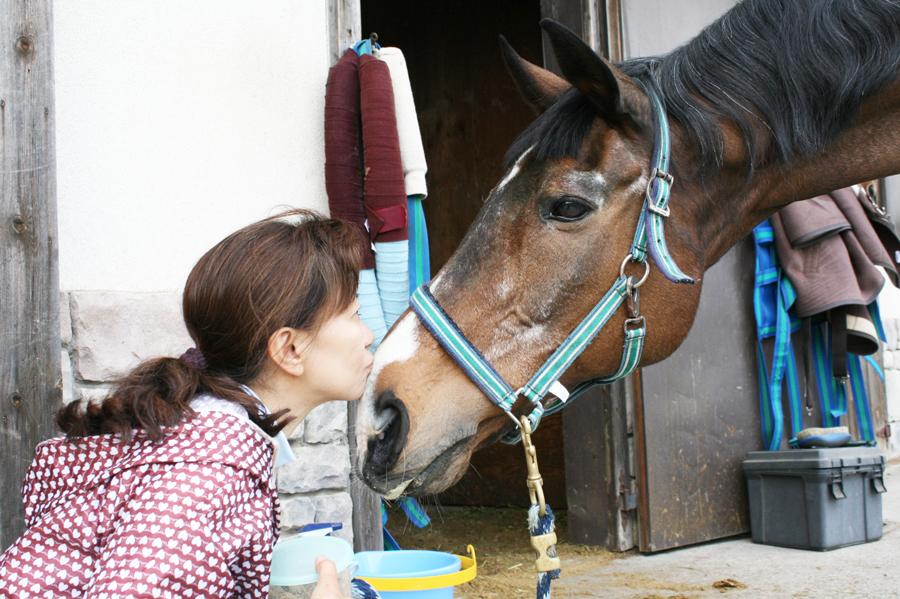 谷口牧場養老牧場で馬と戯れる女性の写真